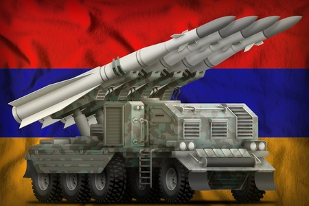 tactical short range ballistic missile with arctic camouflage on the Armenia flag background. 3d Illustration
