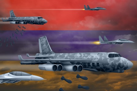 Armenia bomb air strike concept. Modern Armenia war airplanes bombing on flag background. 3d Illustration