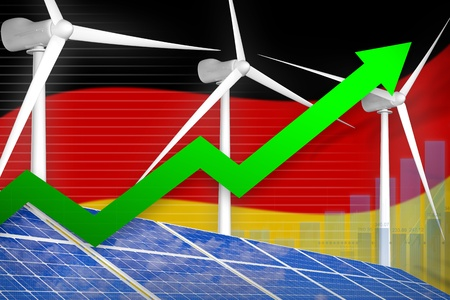 Germany solar and wind energy rising chart, arrow up  - environmental energy industrial illustration. 3D Illustration 写真素材