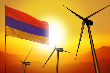 Armenia wind energy, alternative energy environment concept with turbines and flag on sunset - alternative renewable energy - industrial illustration, 3D illustration Stock Photo
