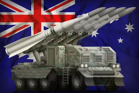 tactical short range ballistic missile with arctic camouflage on the Australia flag background. 3d Illustration