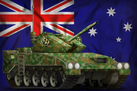 light tank apc with summer camouflage on the Australia flag background. 3d Illustration
