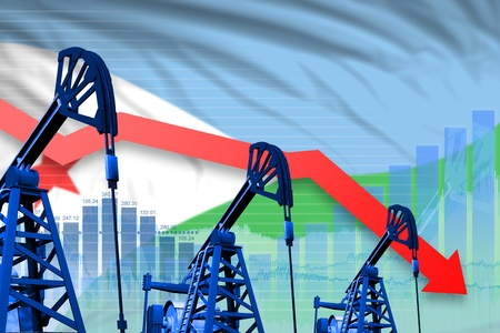 Djibouti oil industry concept, industrial illustration - lowering, falling graph on Djibouti flag background. 3D Illustration Stock Photo