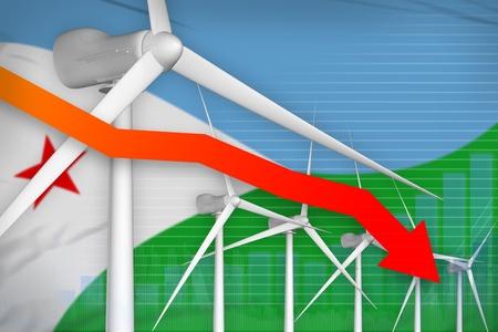 Djibouti wind energy power lowering chart, arrow down  - renewable energy industrial illustration. 3D Illustration