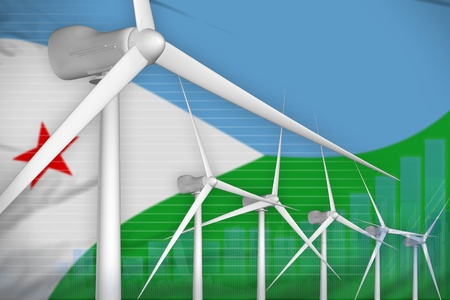 Djibouti wind energy power digital graph concept  - alternative energy industrial illustration. 3D Illustration Stock Photo