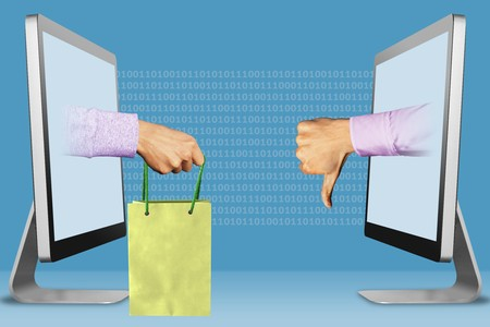 computer concept, hands from monitors. hand with shopping bag and thumbs down, dislike . 3d illustration