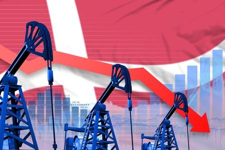 Denmark oil industry concept, industrial illustration - lowering, falling graph on Denmark flag background. 3D Illustration Stock Photo