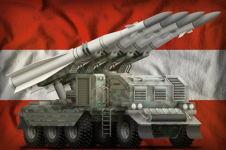 tactical short range ballistic missile with arctic camouflage on the Austria flag background. 3d Illustration