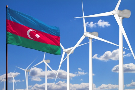 Azerbaijan alternative energy, wind energy industrial concept with windmills and flag
