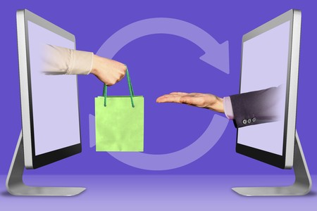 hand with shopping bag and pleading gesture. Shopping concept 3d illustration