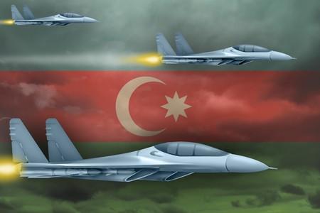 Azerbaijan air strike concept. Modern war airplanes attack on Azerbaijan flag background. 3d Illustration