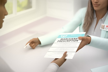 Pretty lady medical doctor gives patient medical marijuana prescription to sign in a bright doctors room - medical illustration with selective focus, 3D illustration Stock Photo