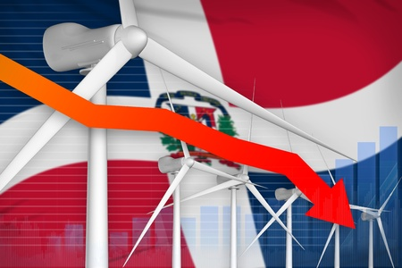 Dominican Republic wind energy power lowering chart, arrow down  - green energy industrial illustration. 3D Illustration