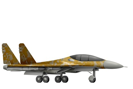 Fighter, interceptor with desert camouflage isolated object on white background. 3d illustration