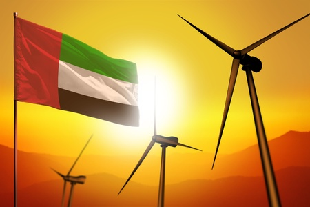 United Arab Emirates wind energy, alternative energy environment concept with turbines and flag on sunset - alternative renewable energy - industrial illustration, 3D illustration