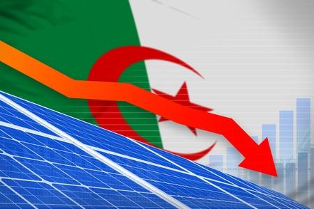 Algeria solar energy power lowering chart, arrow down  - renewable energy industrial illustration. 3D Illustration