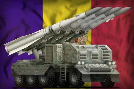 tactical short range ballistic missile with arctic camouflage on the Andorra flag background. 3d Illustration Imagens