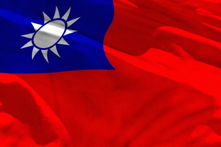 Fluttering Taiwan Province of China flag for using as texture or background, the flag is waving on the wind