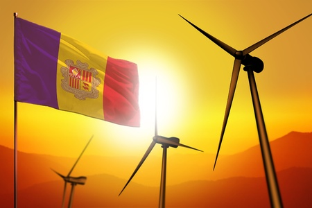 Andorra wind energy, alternative energy environment concept with turbines and flag on sunset - alternative renewable energy - industrial illustration, 3D illustration Banco de Imagens