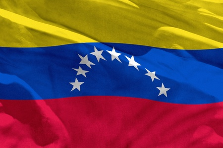 Fluttering Venezuela flag for using as texture or background, the flag is waving on the wind