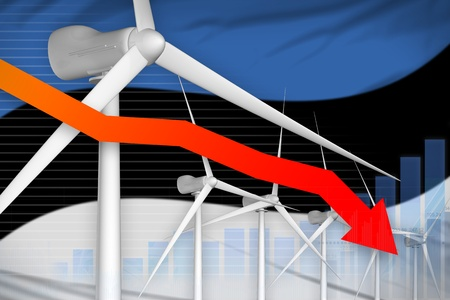 Estonia wind energy power lowering chart, arrow down  - green energy industrial illustration. 3D Illustration
