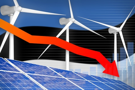 Estonia solar and wind energy lowering chart, arrow down  - green energy industrial illustration. 3D Illustration Stok Fotoğraf