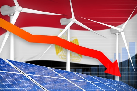 Egypt solar and wind energy lowering chart, arrow down  - environmental energy industrial illustration. 3D Illustration Stock Photo