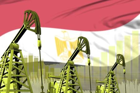 Egypt oil and petrol industry concept, industrial illustration on Egypt flag background. 3D Illustration Stock Photo