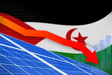 Western Sahara solar energy power lowering chart, arrow down  - alternative energy industrial illustration. 3D Illustration Stock Photo