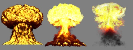 3 huge high detailed different phases mushroom cloud explosion of hydrogen bomb with smoke and fire isolated on grey - 3D illustration of explosion