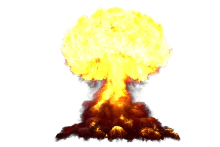 big highly detailed mushroom cloud explosion with smoke and fire like from fusion bomb or any other big explosives isolated on white - blast 3D illustration