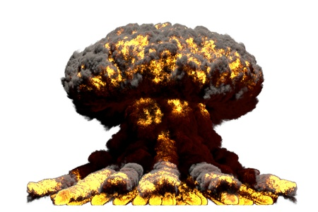 large fire mushroom cloud explosion with smoke and flames - looks like super bomb or any other big explosive isolated on white background - big blast 3D illustration
