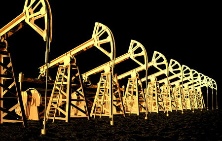 Oil - the Black Gold concept 3D rendering, gold oil wells in the sea of black oil - industrial illustration