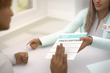 wonderful woman medical doctor gives patient medical prescription and patient  do not accept it - declines it and refuses to take it - medical illustration with selective focus, 3D illustration Stock Photo