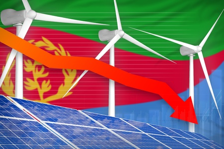 Eritrea solar and wind energy lowering chart, arrow down  - alternative energy industrial illustration. 3D Illustration