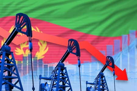 Eritrea oil industry concept, industrial illustration - lowering, falling graph on Eritrea flag background. 3D Illustration