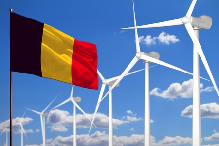 Belgium alternative energy, wind energy industrial concept with windmills and flag - alternative renewable energy industrial illustration, 3D illustration