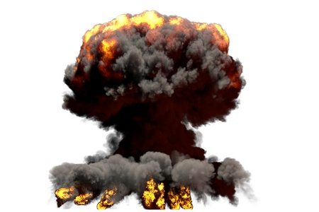 large fire mushroom cloud explosion with smoke and flames - looks like nuclear bomb or any other big explosive isolated on white background - big blast 3D illustration