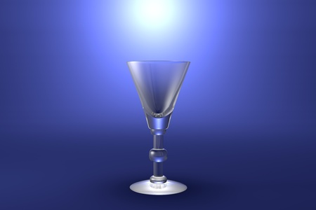 liqueur or vermouth glass on light blue highlighted artistic background - drinking glass render, 3D illustration