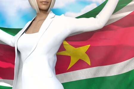 sexy business lady is holding Suriname flag in her hands behind her on the blue sky background - flag concept 3d illustration Stockfoto