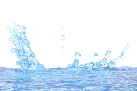 cool water splash with drops mockup isolated on white - 3D illustration, for design purposes
