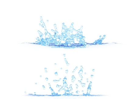 2 side views of beautiful water splash - 3D illustration, mockup isolated on white - for design purposes