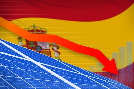 Spain solar energy power lowering chart, arrow down  - environmental energy industrial illustration. 3D Illustration Stock Photo