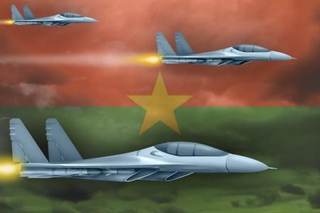 Burkina Faso air strike concept. Modern war airplanes attack on Burkina Faso flag background. 3d Illustration