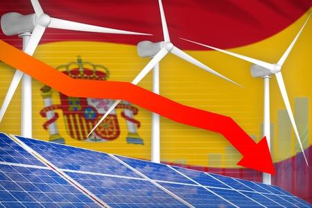 Spain solar and wind energy lowering chart, arrow down  - alternative energy industrial illustration. 3D Illustration