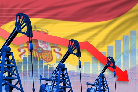 Spain oil industry concept, industrial illustration - lowering, falling graph on Spain flag background. 3D Illustration