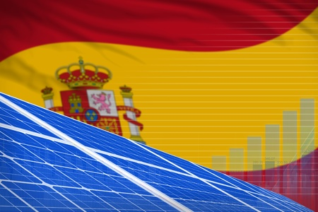 Spain solar energy power digital graph concept  - green energy industrial illustration. 3D Illustration