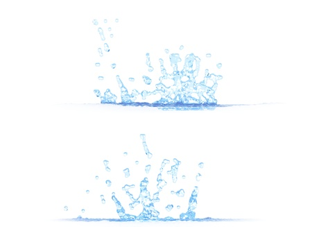 two side views of nice water splash - 3D illustration, mockup isolated on white - creative illustration