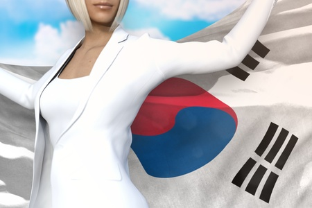 sexy business lady is holding Republic of Korea (South Korea) flag in her hands behind her on the blue sky background - flag concept 3d illustration