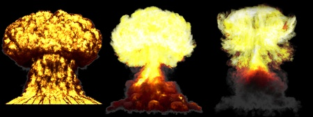 3 huge high detailed different phases mushroom cloud explosion of super bomb with smoke and fire isolated on black - 3D illustration of explosion